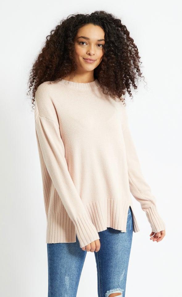 Round Neck Longline Sweater Blush