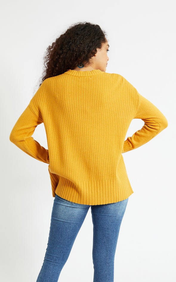 Round Neck Longline Sweater Caramel