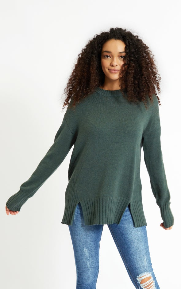 Round Neck Longline Sweater Forest