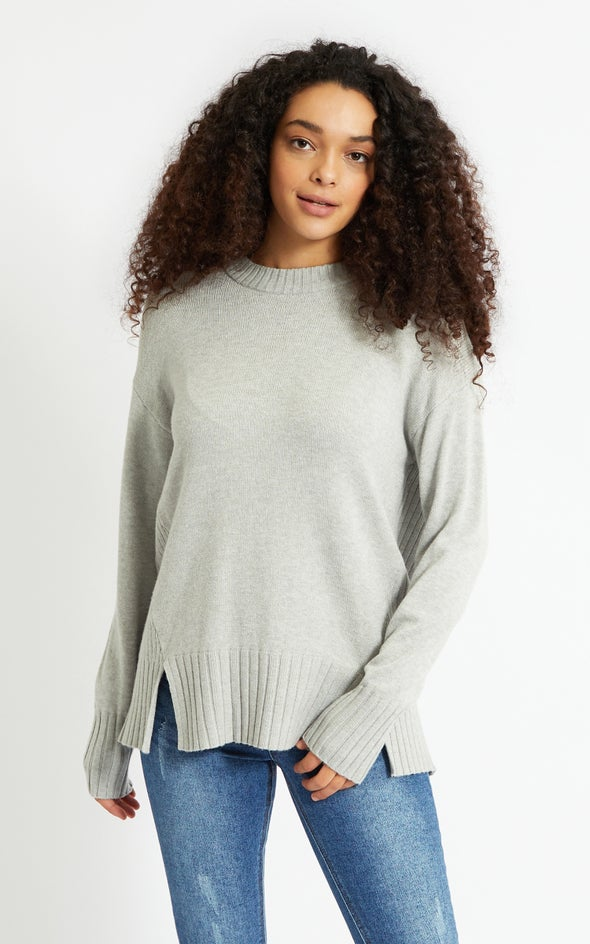 Round Neck Longline Sweater Grey Marle