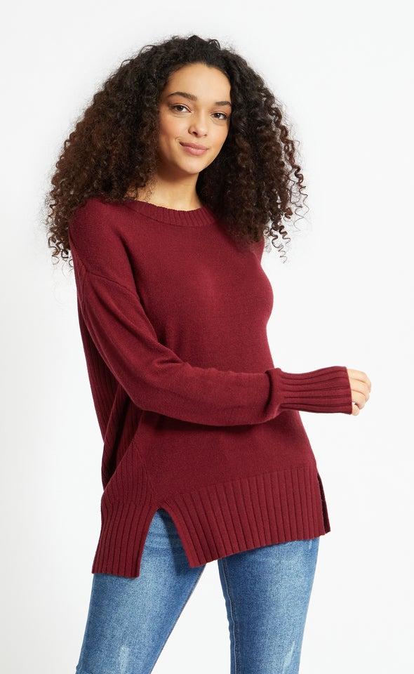 Round Neck Longline Sweater Maroon