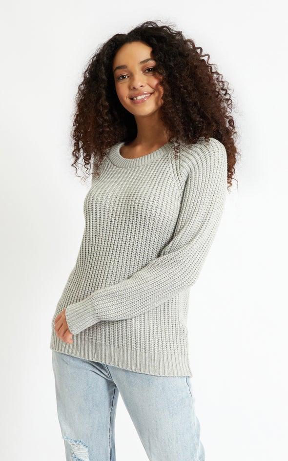 Round Neck Sweater Grey Marle