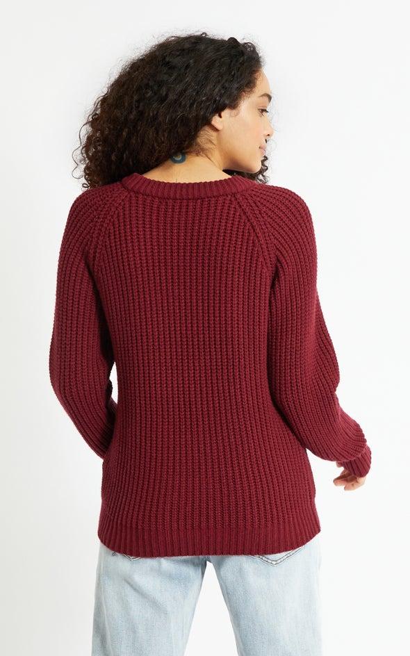 Round Neck Sweater Maroon