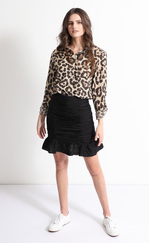 Ruched Frill Hem Skirt