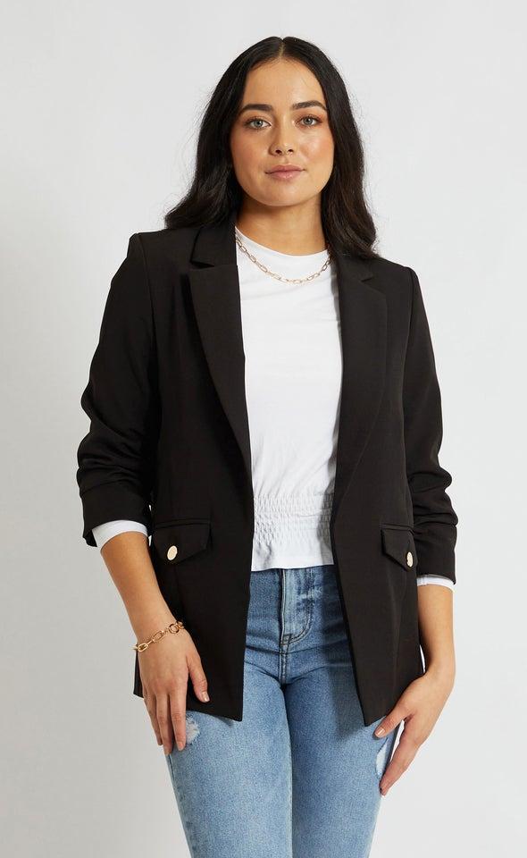 Ruched Sleeve Blazer Black
