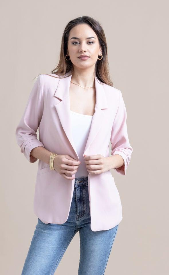 Ruched Sleeve Blazer Blush