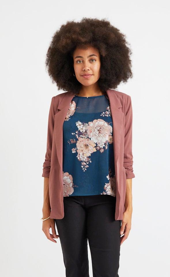 Ruched Sleeve Blazer Cocoa