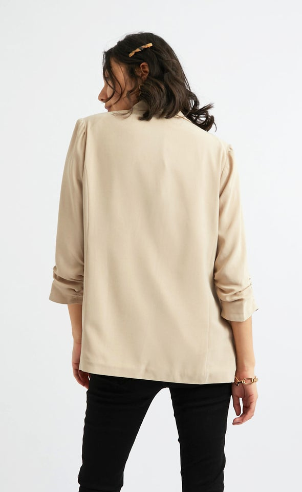 Ruched Sleeve Blazer Natural