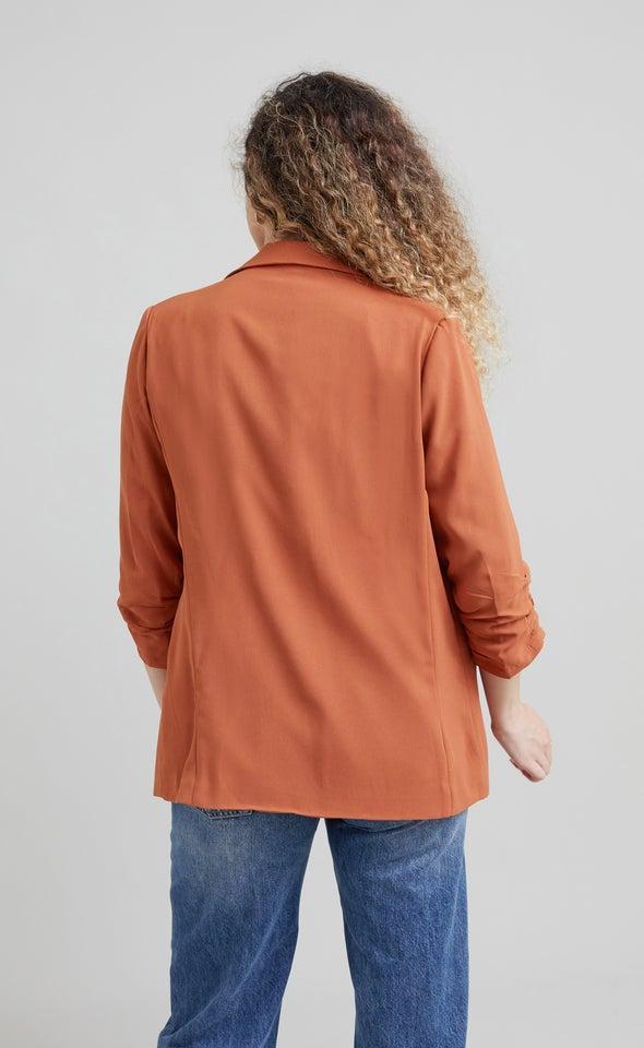 Ruched Sleeve Blazer Rust