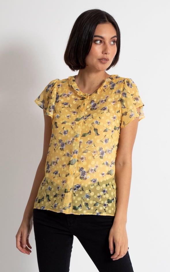 Ruffle Collar Cap Sleeve Shirt Yellow Floral