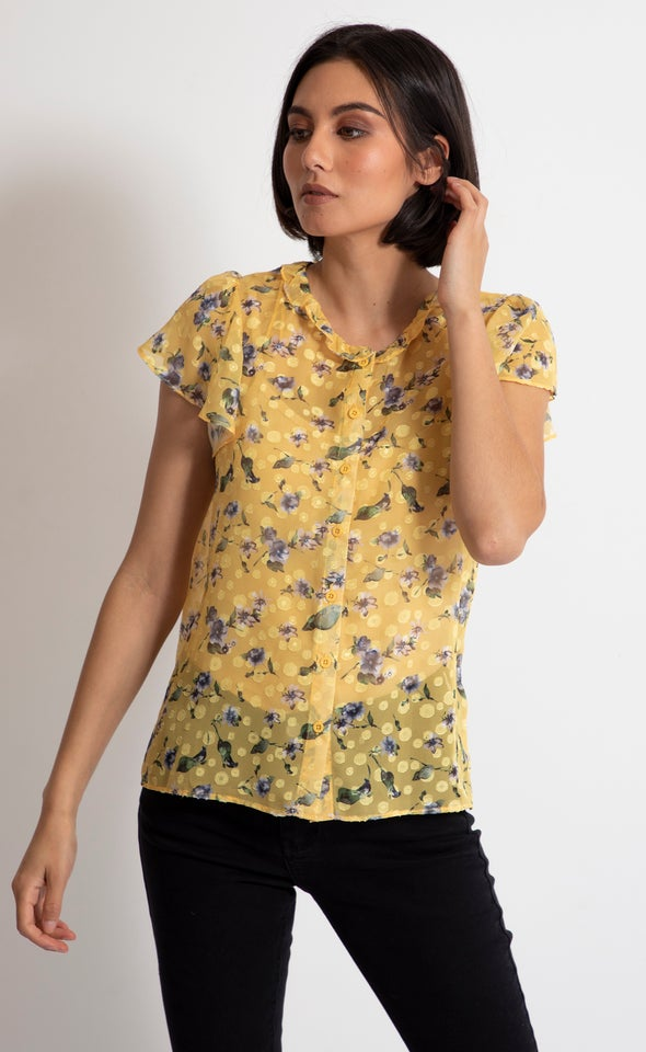 Ruffle Collar Cap Sleeve Shirt