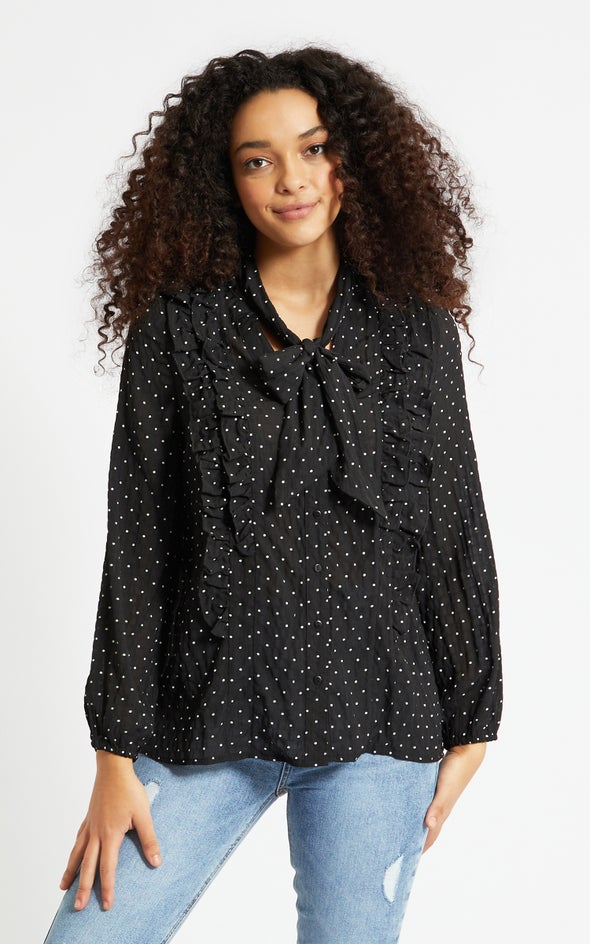 Ruffle Front Spotted Shirt Black/white