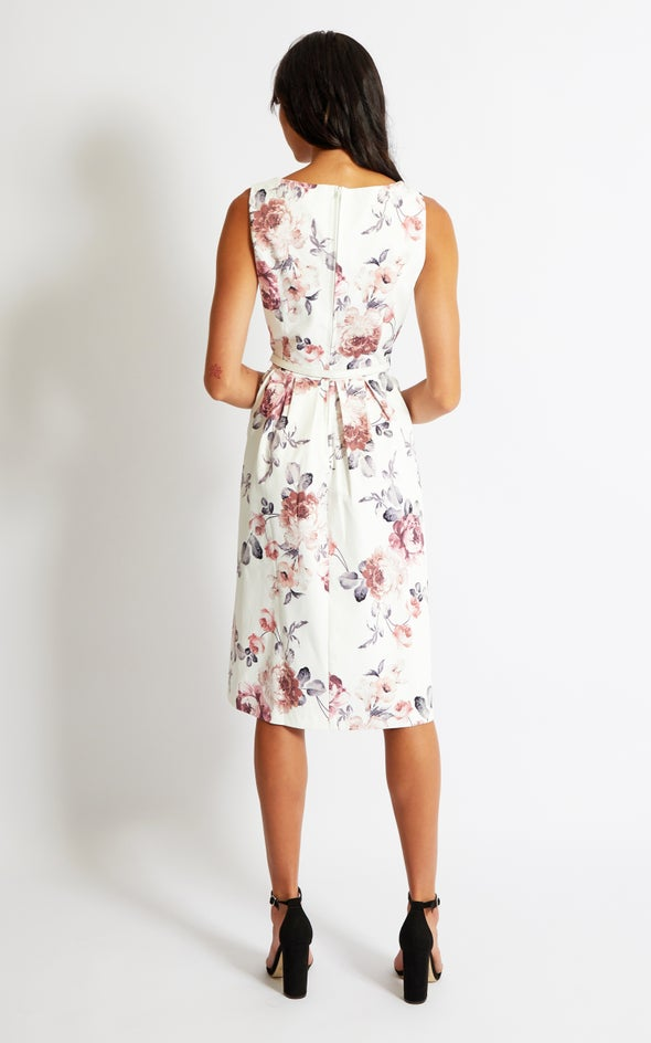Sateen Belted Fit & Flare Dress Cream/floral