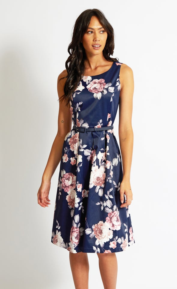 Sateen Belted Fit & Flare Dress Navy/floral