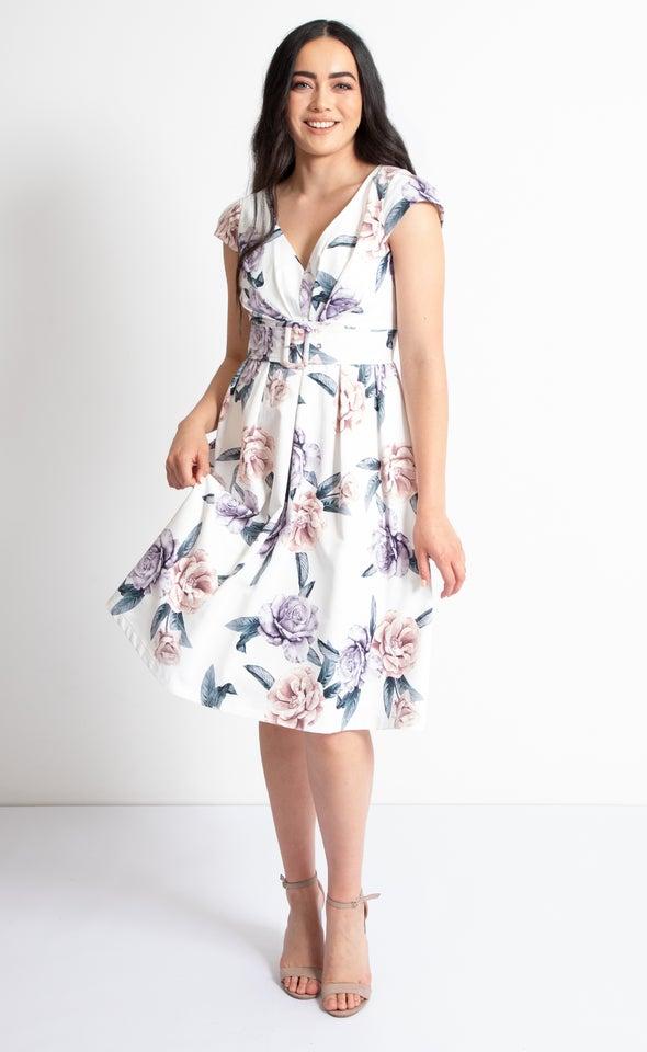Sateen Cap Sleeve 50's Dress Cream/floral