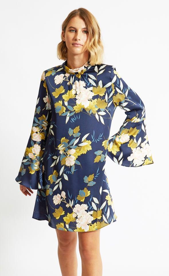 Satin Bell Sleeve Swing Dress Navy/oriental