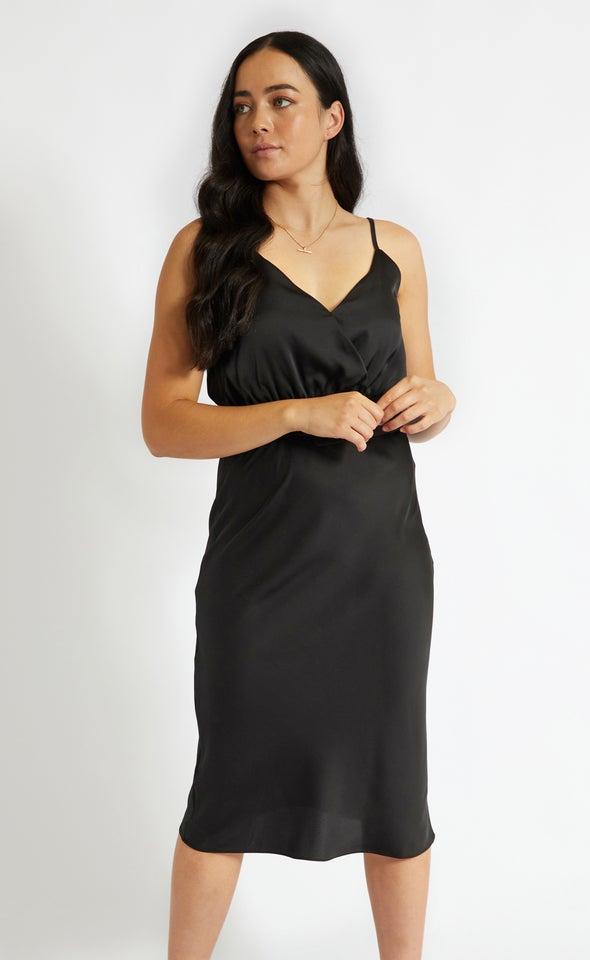 Satin Belted Bias Slip Dress Black