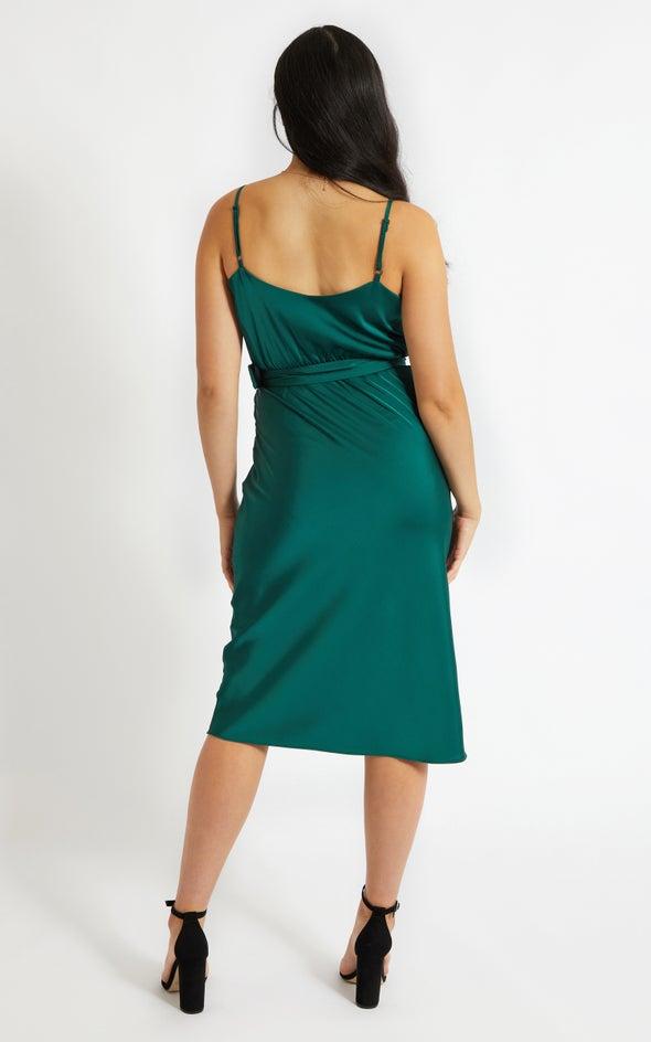 Satin Belted Bias Slip Dress Forest Green