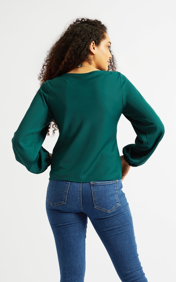 Satin Bias Cowl LS Top Emerald
