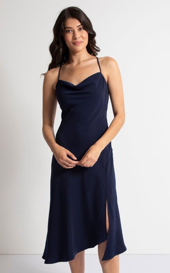 Satin Bias Cowl Midi Dress Navy