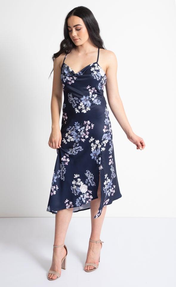 Satin Bias Cowl Midi Dress Navy/lilac