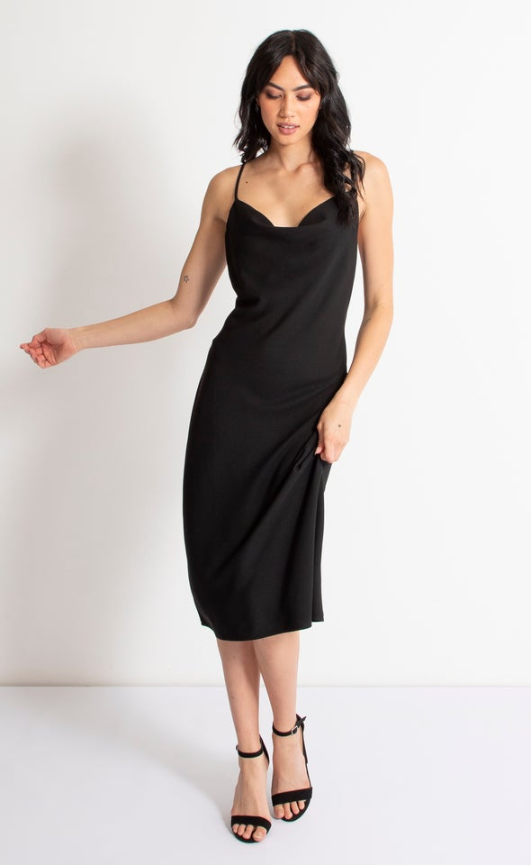 Satin Bias Cowl Slip Dress Black