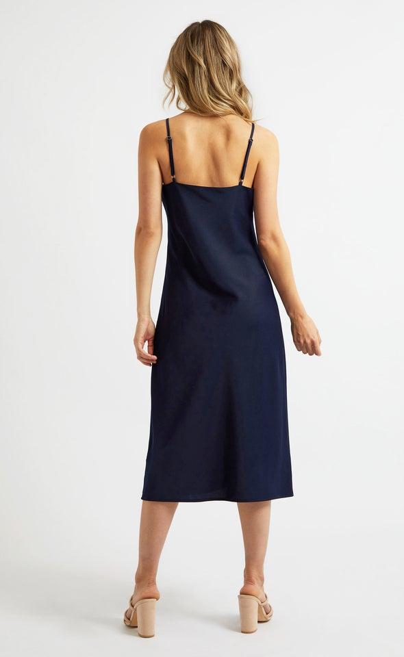 Satin Bias Cowl Slip Dress Navy