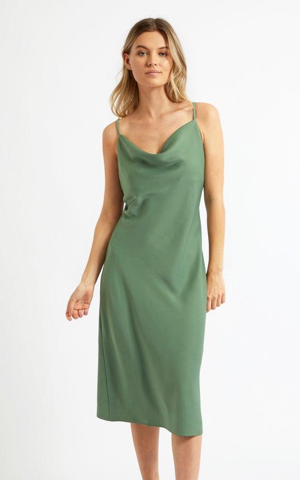 Satin Bias Cowl Slip Dress Sage