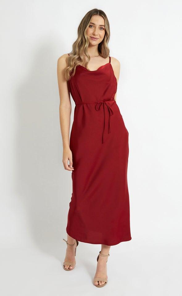 Satin Bias Cowl Slip Gown Red Wine