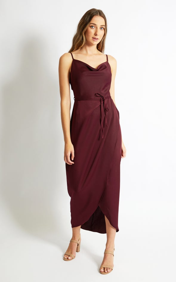 Satin Bias Cowl Wrap Gown Aubergine