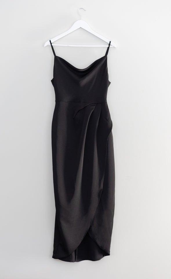 Satin Bias Cowl Wrap Gown Black