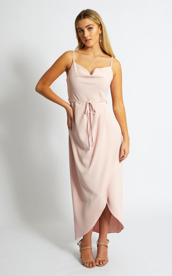 Satin Bias Cowl Wrap Gown Blush