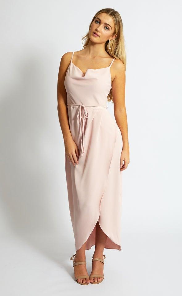 Satin Bias Cowl Wrap Gown