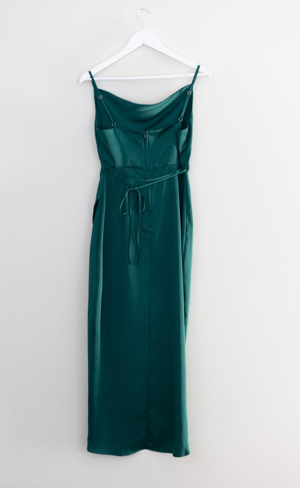 Satin Bias Cowl Wrap Gown Forest Green