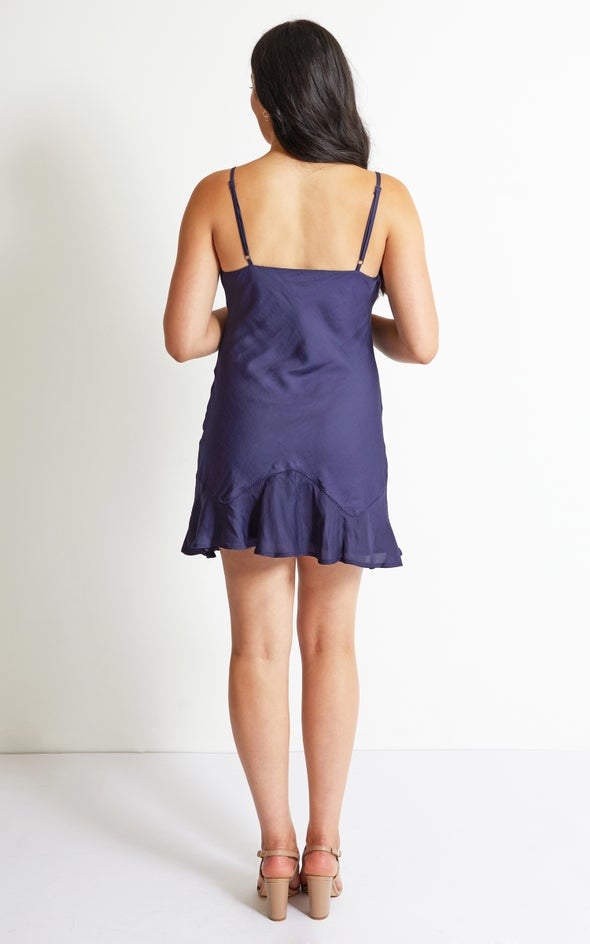 Satin Bias Mini Slip Dress Light Navy