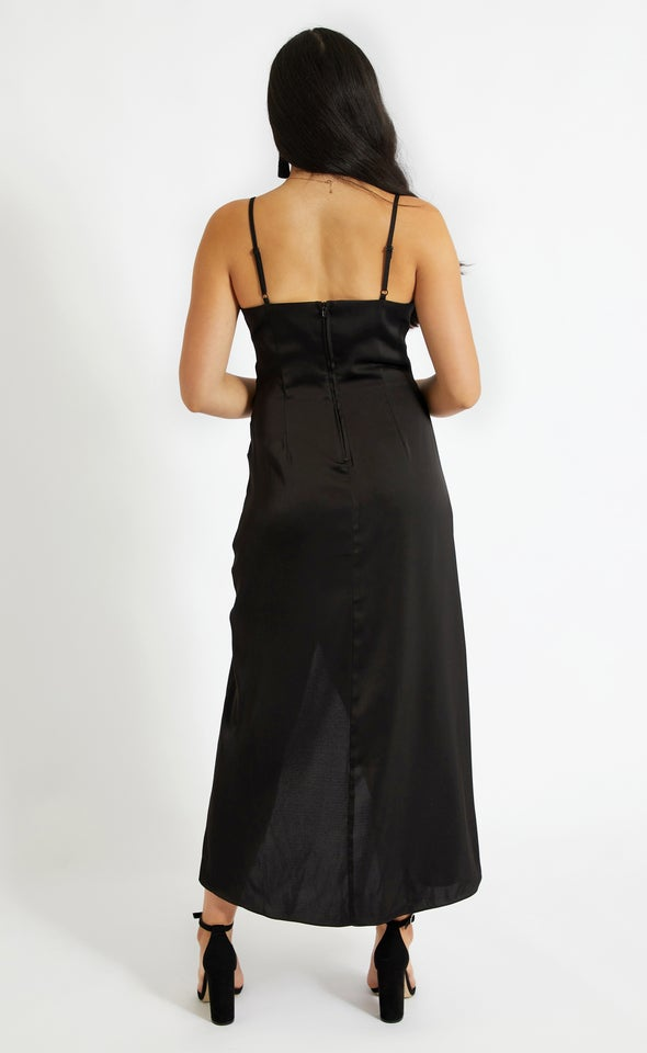 Satin Bias Pleat Detail Gown Black