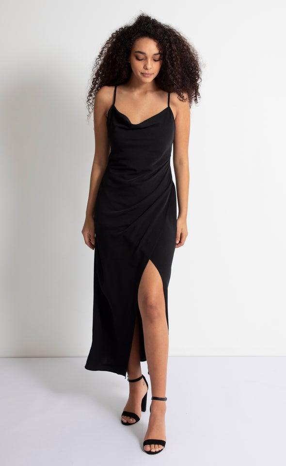 Satin Bias Pleat Detail Gown Black