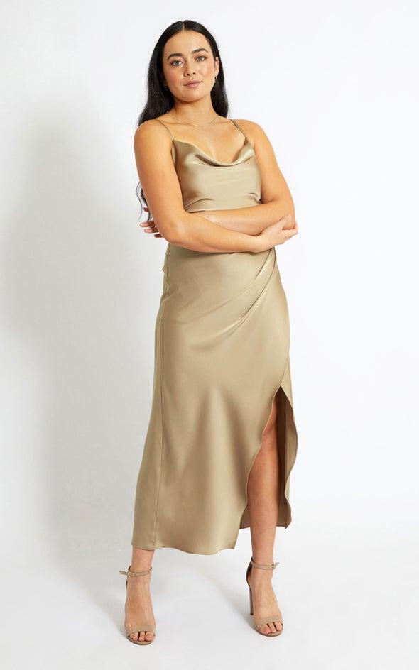 Satin Bias Pleat Detail Gown Gold