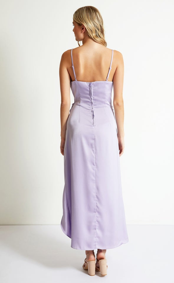 Satin Bias Pleat Detail Gown Lilac