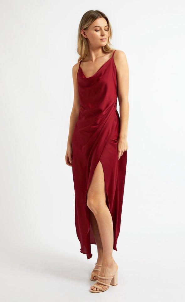 Satin Bias Pleat Detail Gown Maroon