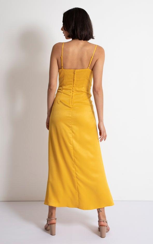 Satin Bias Pleat Detail Gown Mustard