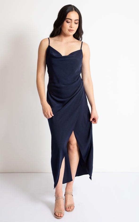 Satin Bias Pleat Detail Gown Navy