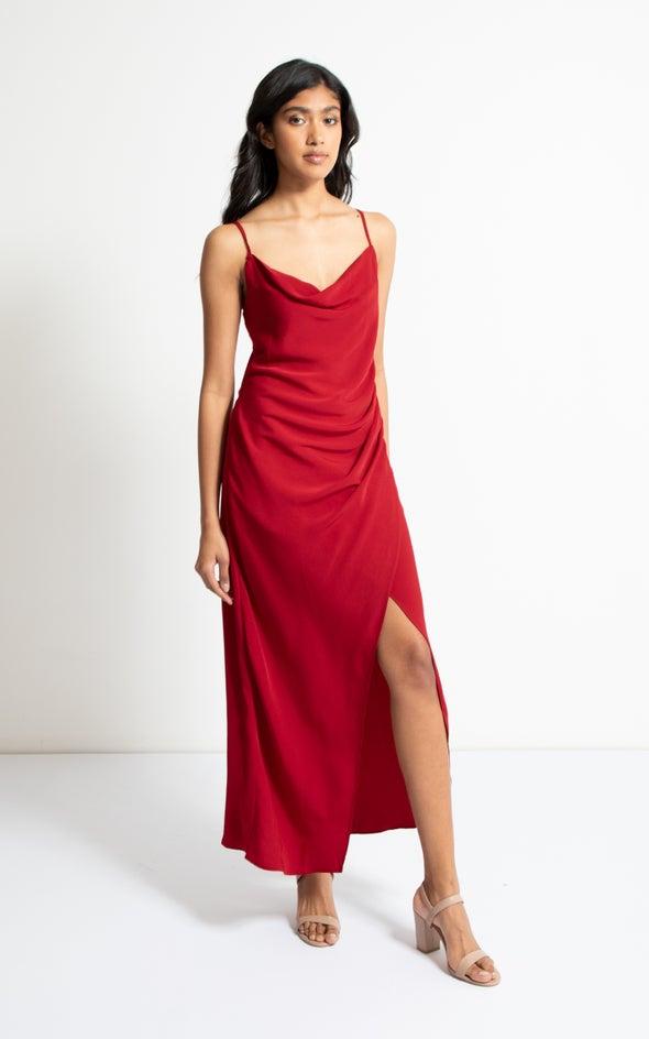 Satin Bias Pleat Detail Gown Red Wine