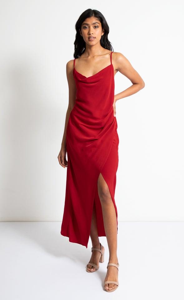 Satin Bias Pleat Detail Gown
