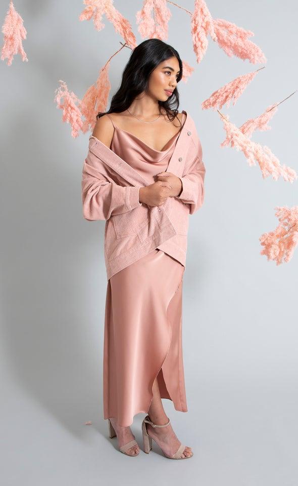 Satin Bias Pleat Detail Gown Rose