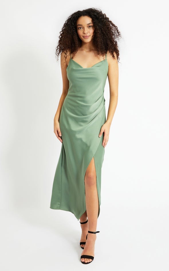 Satin Bias Pleat Detail Gown Sage