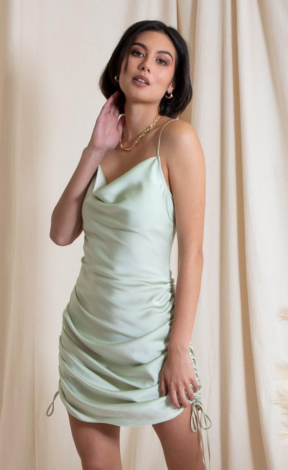 Satin Bias Ruched Slip Dress