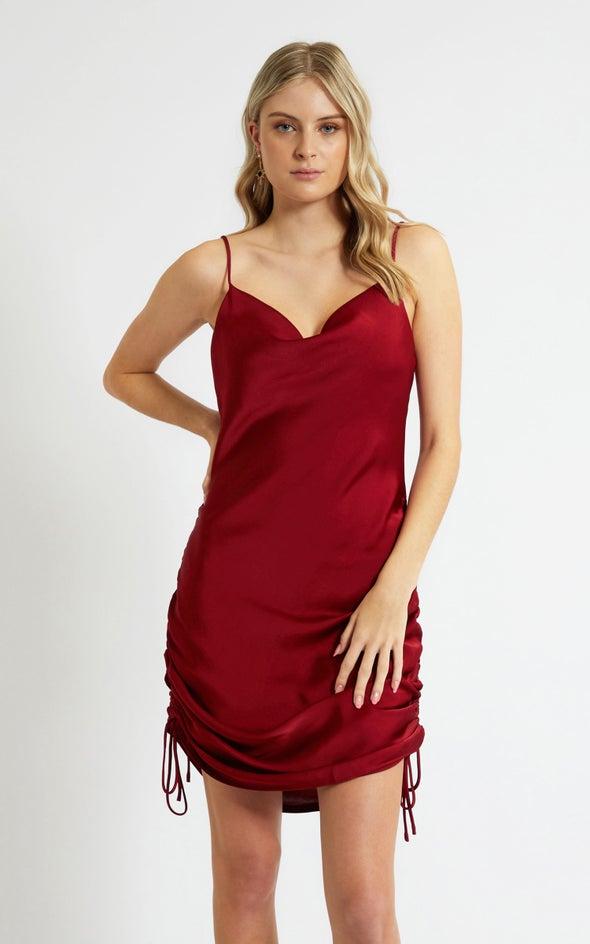 Satin Bias Ruched Slip Dress Maroon