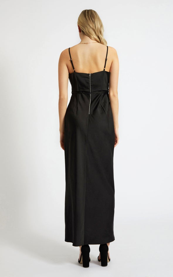 Satin Cowl Split Detail Gown Black