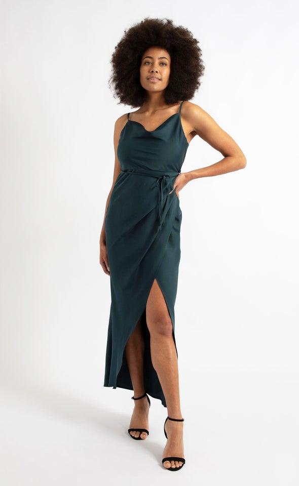 Satin Cowl Split Detail Gown Emerald